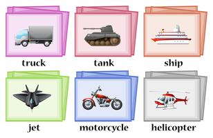 Diferentes transportes en wordcards.