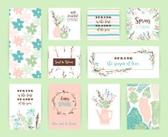 Set of artistic creative spring cards.