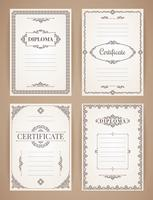 Vektor design mallar samling för examen, certifikat, affischer och annan användning.