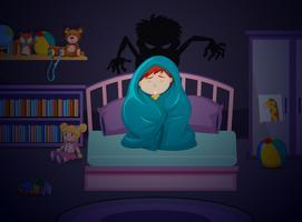 Ein Junge hat Angst vor der Dunkelheit