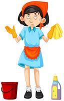 Maid con herramientas de limpieza.