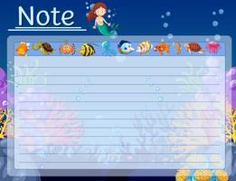 Plantilla de papel con peces y sirena bajo el agua
