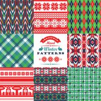 Christmas and New Year Set. Plaid and ornamental seamless backgr