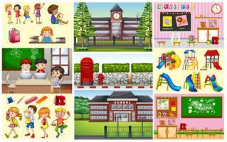 Crianças em sala de aula e escola