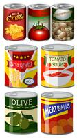 Olika typer av mat i burk