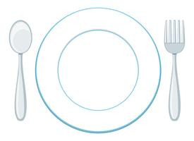 A blank plate with spoon and fork
