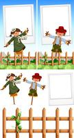 Photo frame template with scarecrows