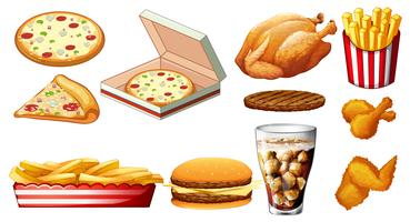 Different types of fastfood and drink