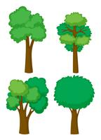 Four shapes of trees vector
