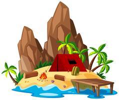 Isolated summer beach campsite
