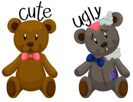 Cute teddy bear and ugly teddy bear vector