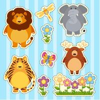 Sticker set with wild animals on blue background