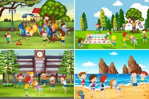 En uppsättning barn som spelar på olika platser