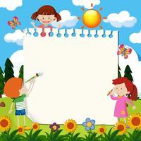 Paper Note med barn i trädgården