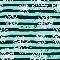 Vector winter seamless pattern with snowflakes and stripes.