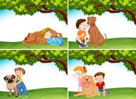 Conjunto de niños y perros.