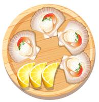 Isolated scallop on wooden plate