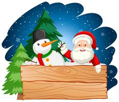 Santa and snowman with wooden board vector