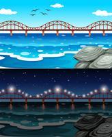 Oceaanscène met brug en rots