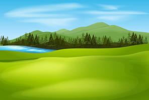 Bakgrundsscen med grönt fält