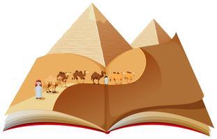 Een pop-upboek met woestijnkaravaan