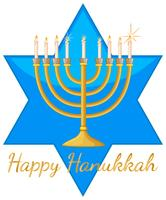Happy Hanukkah card template with blue star and lights