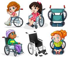 Disabled patients with wheelchairs vector