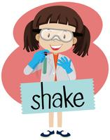 Flashcard de word shake con chica en traje de laboratorio.