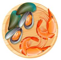 Seafood on wooden plate