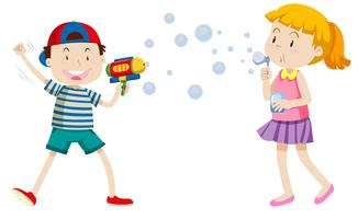 Children playing with bubbles vector
