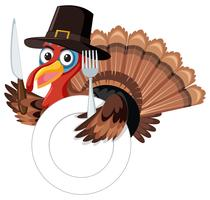 Thanksgiving turkey with fork and knife vector