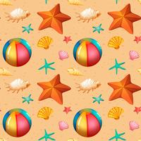Seamless pattern of beach objects