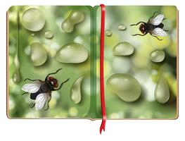 Houseflies and water drops in the book