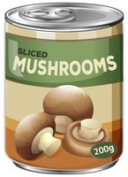 A Sliced Mushrooms in Can on White Background