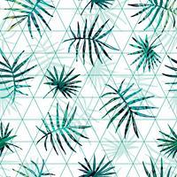 Modello esotico senza cuciture con foglie di palma tropicale su sfondo geometrico.