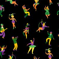Mardi gras. Seamless pattern with funny dancing men and women in bright costumes