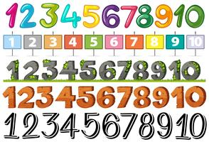A Set of Font Number vector
