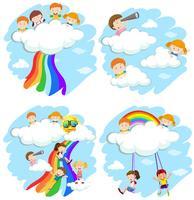 Feliz, crianças, tocando, ligado, a, nuvens, e, arco íris