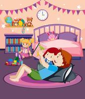 En far som läser bedtime story till dotter