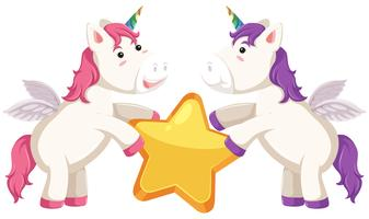 Unicorn character with star vector