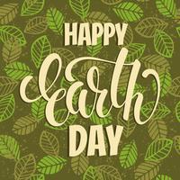 Concepto del día de la tierra con letras de sorteo de mano.