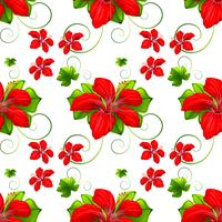 Seamless background with red flowers vector