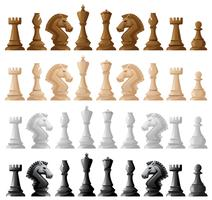 Fyra uppsättningar av schackbitar
