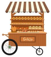 Isolated wooden bakery stall vector