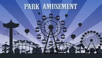 A silhouette amusement park template vector