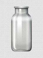 Botella de vidrio sobre fondo transparente