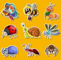 Sticker set with many insects on yellow background