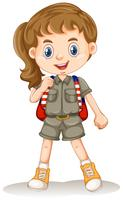 A Safari Girl on Whit Background