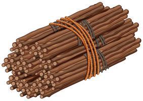 Bastoncini di legno in grande fascio