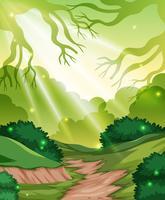 En grön skogsbakgrund
